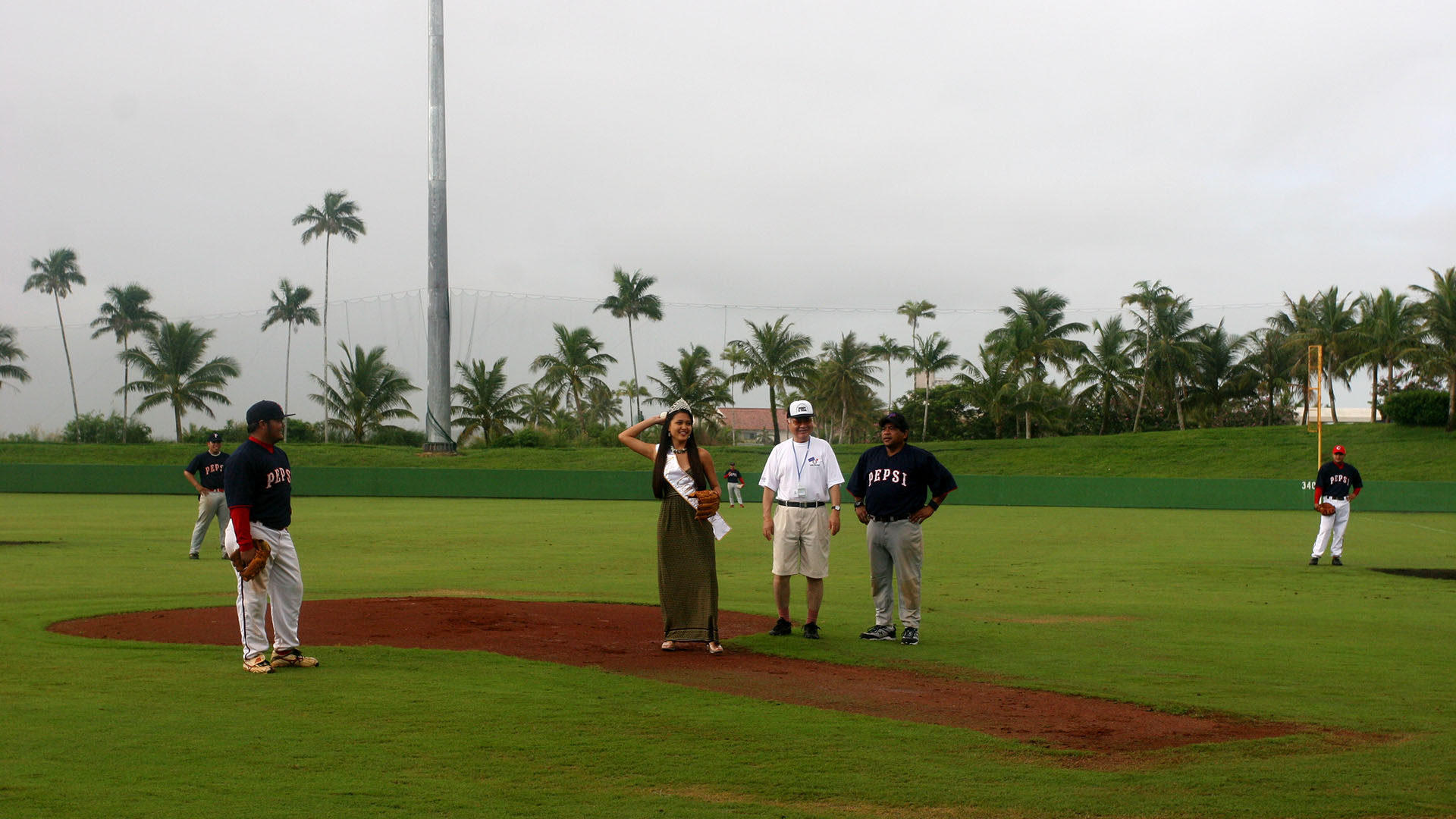 Ceremonial first pitch by Miss Guam (December 1, 2007)